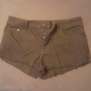 Camo green Roxy short shorts